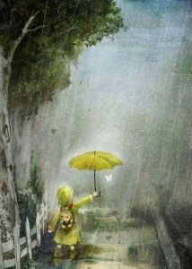 copila in ploaie